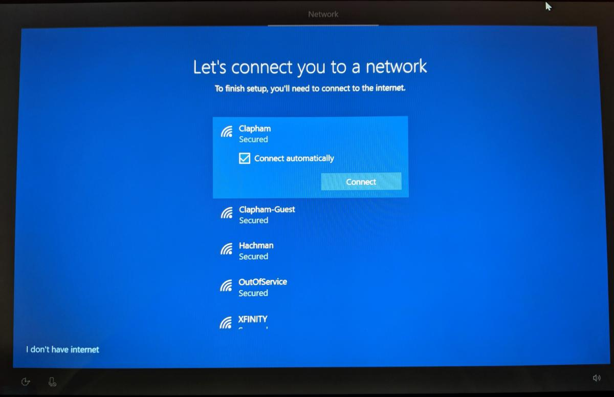 Windows 10 May 2019 Update OOBE wireless