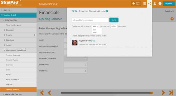 StratPad business planning software - Share dropdown