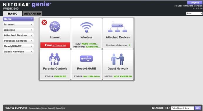 Netgear WNDR3800 interface