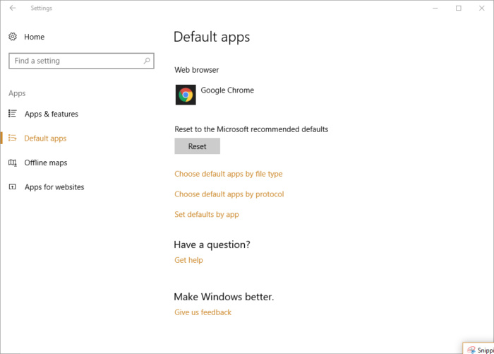 Windows 10 settings - Chrome as default browser