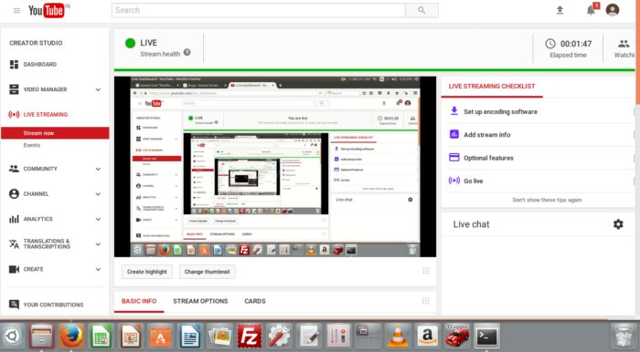 Linux screencasting apps - Kazam livestream youtube