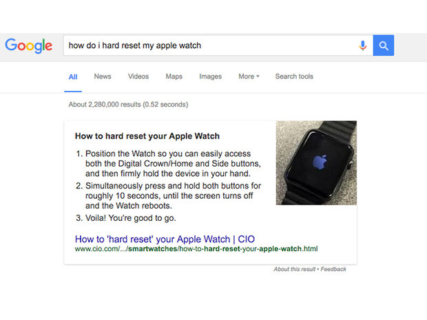 google search quick answers box