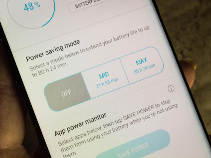 Galaxy S8 power saving mode