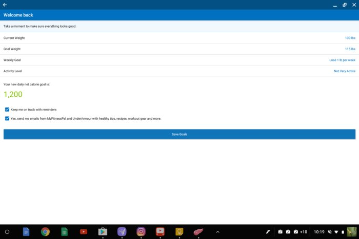 android app chromebook myfitnesspal