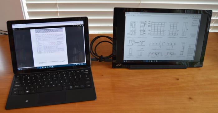 USB-C - AOC I1601FWUX display with Samsung Tab Pro S