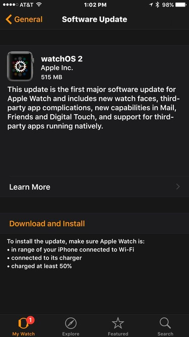 watchos 2.0 update