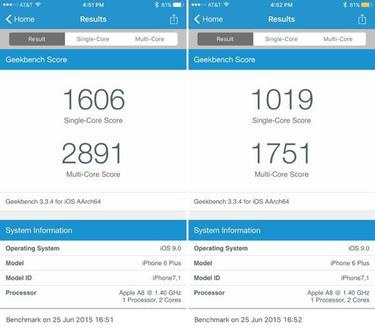 ios 9 low power mode performance benchmarks
