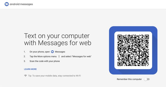 android messages for web qr code