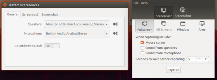 Linux screencasting apps - Kazam recording preferences