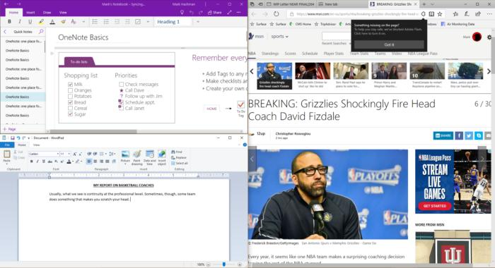 Windows 10 snap view