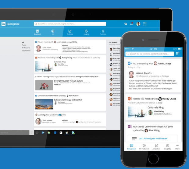 LinkedIn personalized news feed