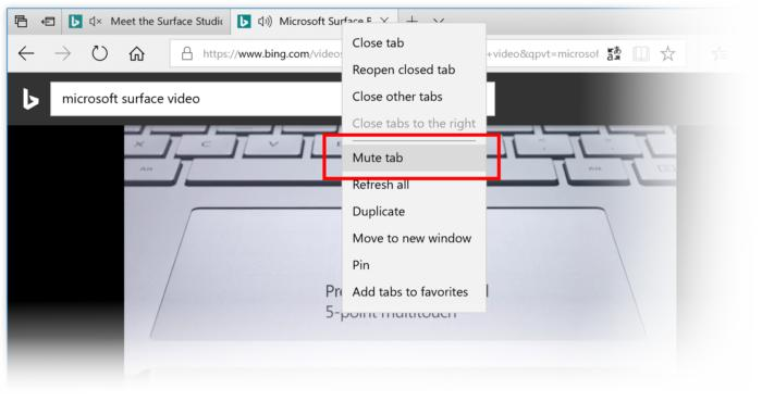 Windows 10 Insider build 17035 edge mute tab