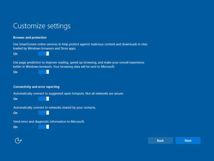 Win10 Creators Update: Customize settings (screen 1)