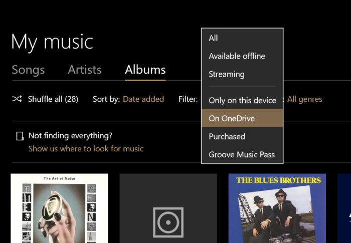 Microsoft Groove Music on onedrive