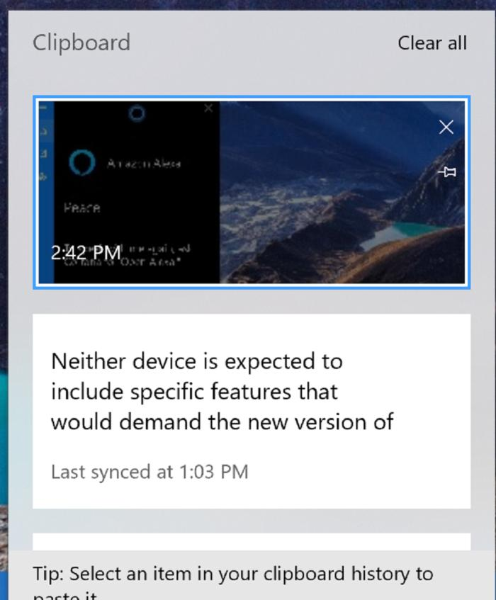 windows 10 october update clipboard large