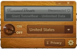 TunnelBear interface
