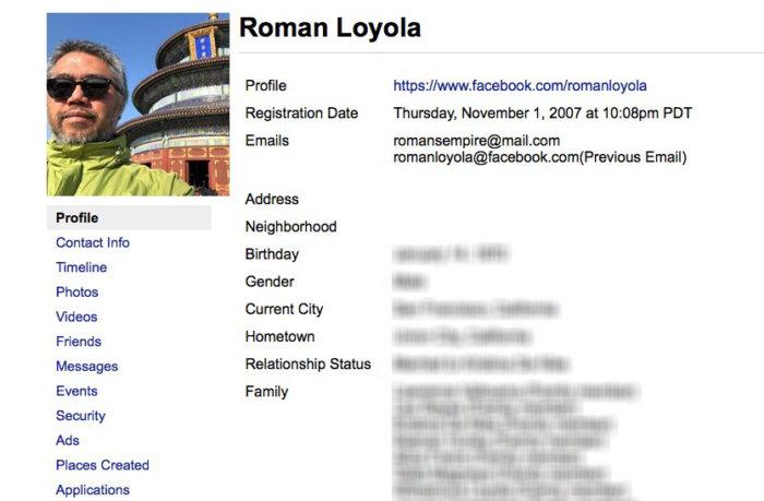 facebook data profile