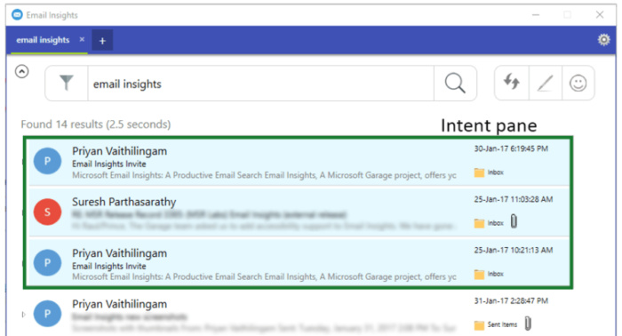 email insights intent pane