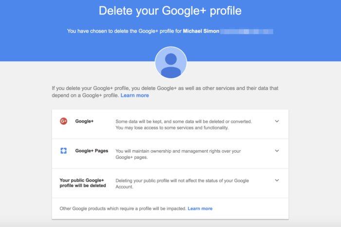 google delete profile