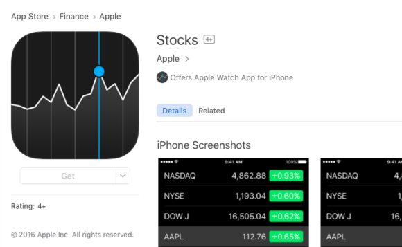 stocks in app store