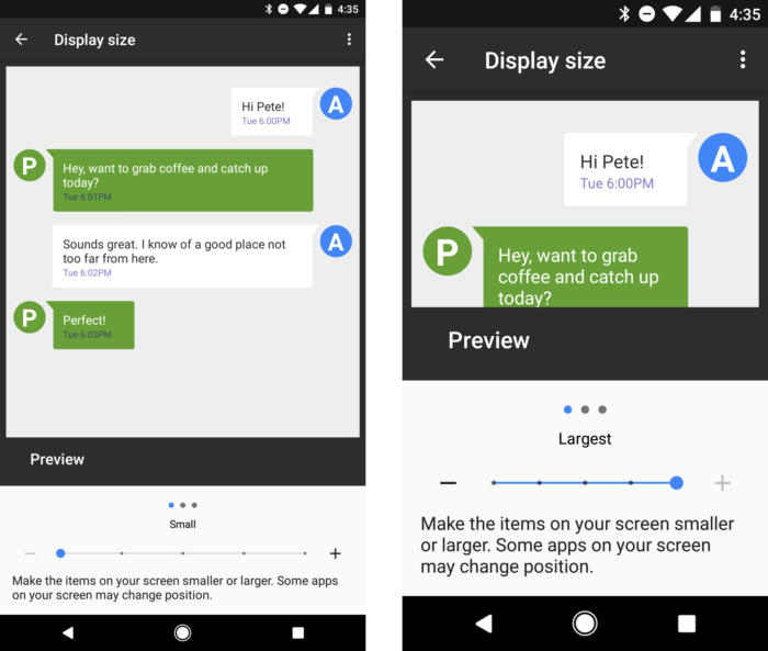 21 android nougat display size