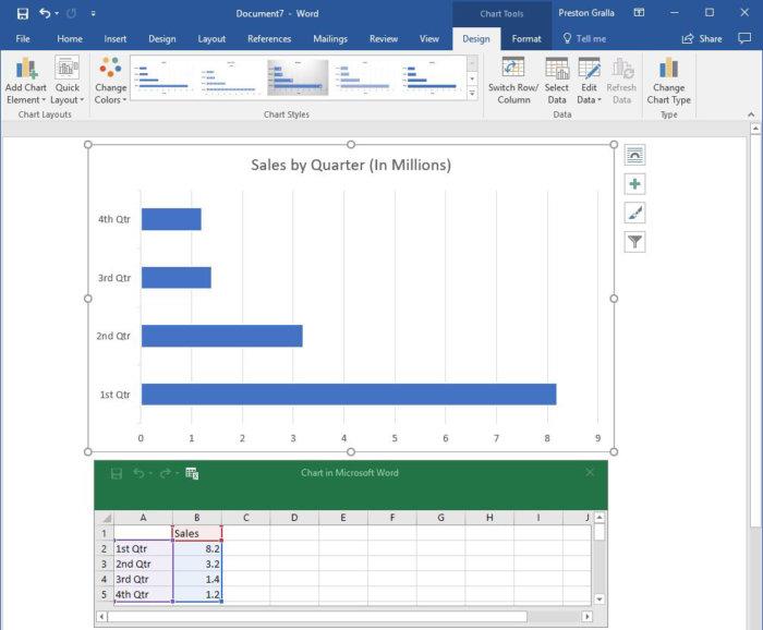 Microsoft Word 2016 - insert chart