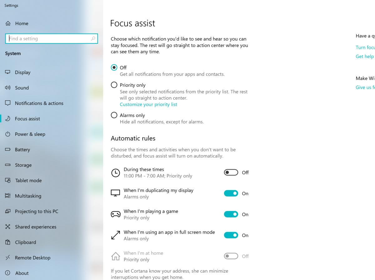 Windows 10 April 2019 Update focus assist