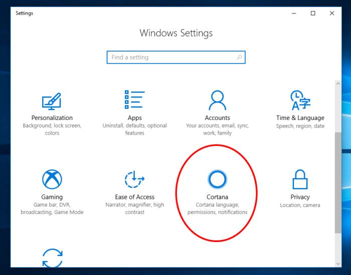 Windows 10 Fall Creator Cortana 1