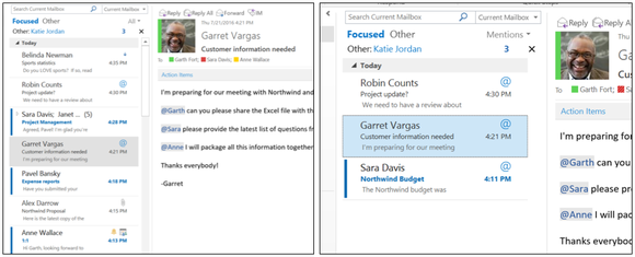 Outlook at mention screenshots