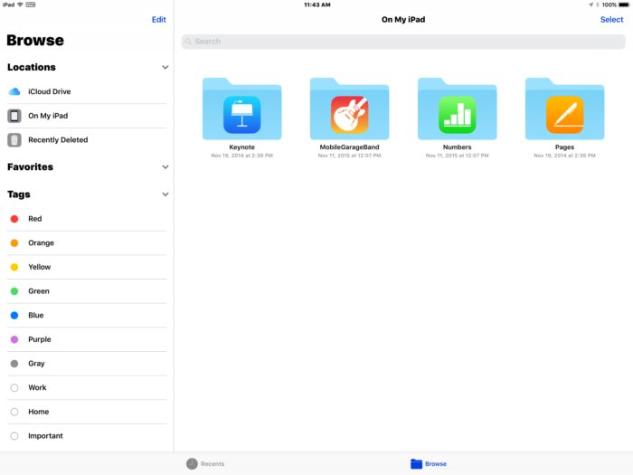 Files app in iOS 11