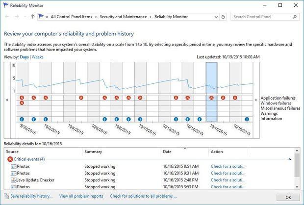 windows 10 reliability monitor - figure 3
