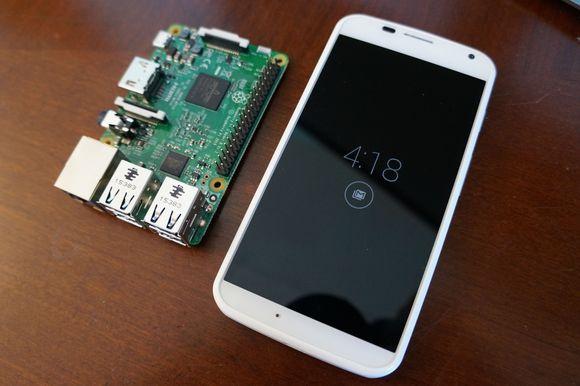raspberry pi 3 next to 1st gen Moto x