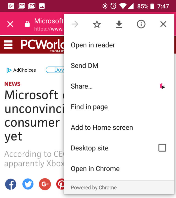 Chrome custom tabs