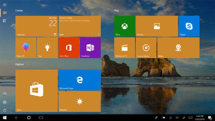 Windows 10 Start screen on tablet