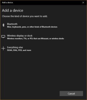 Windows 10 Creators Update - add device