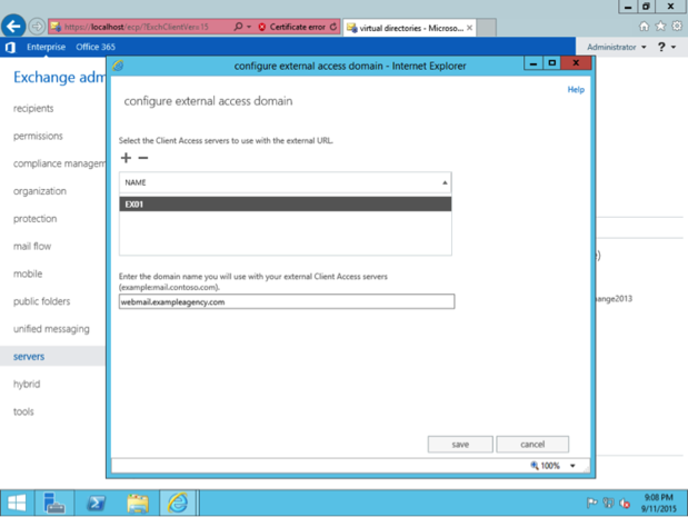 Exchange Settings: Configure external access domain