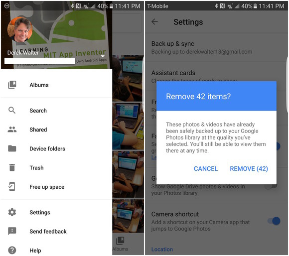 google photos removal