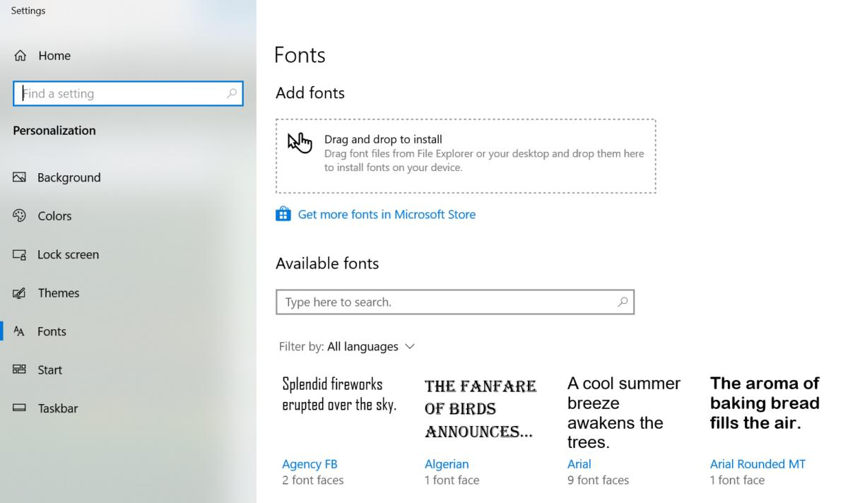 Microsoft Windows 10 April 2019 Update fonts