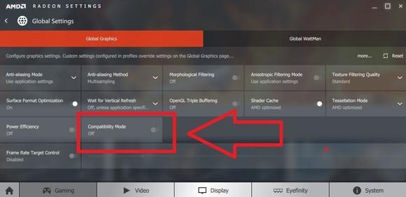 amd radeon rx 480 compatibility mode global settings