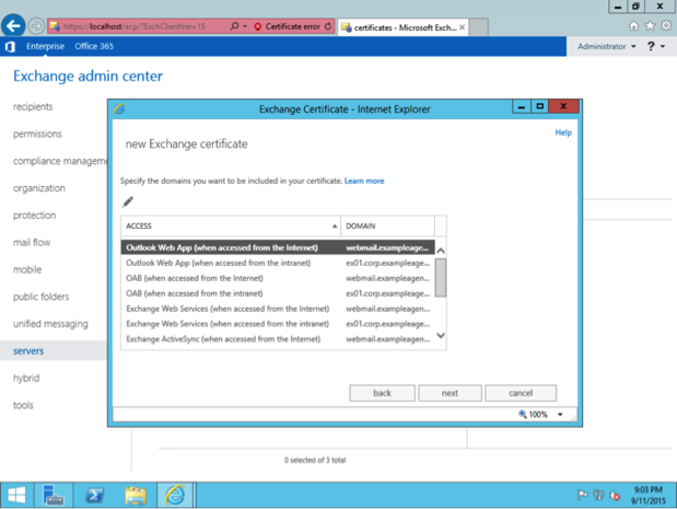Exchange Settings: Adding a new certificate