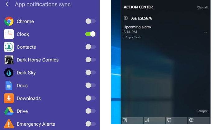 Notifications set in Cortana Android app appear in Windows 10 Action Center