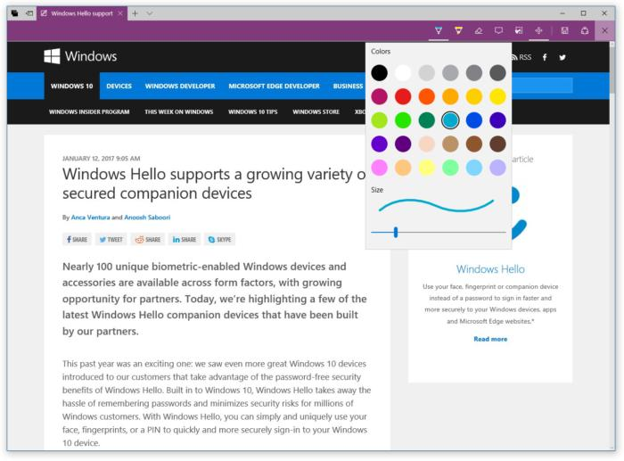 web notes windows ink