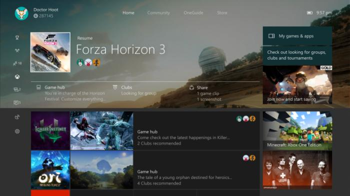 Creators Update updated home xbox one