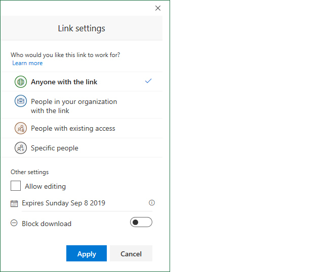 excel office365 enterprise link settings