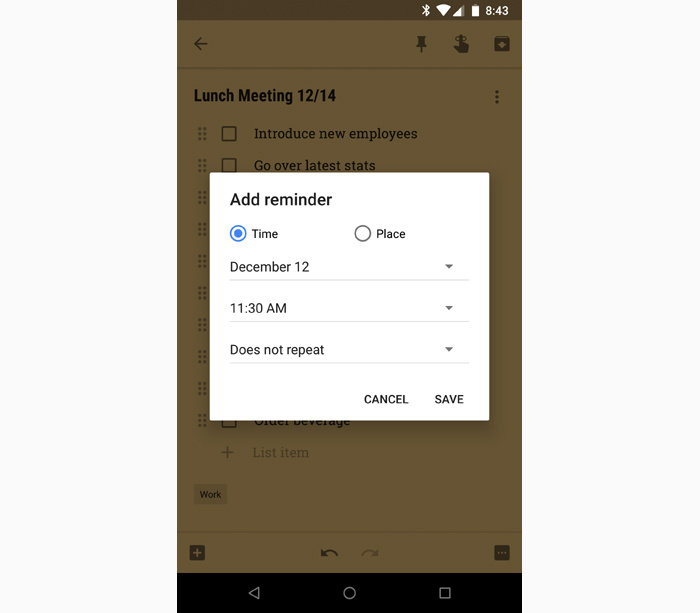 Android note taking apps - Google Keep reminders