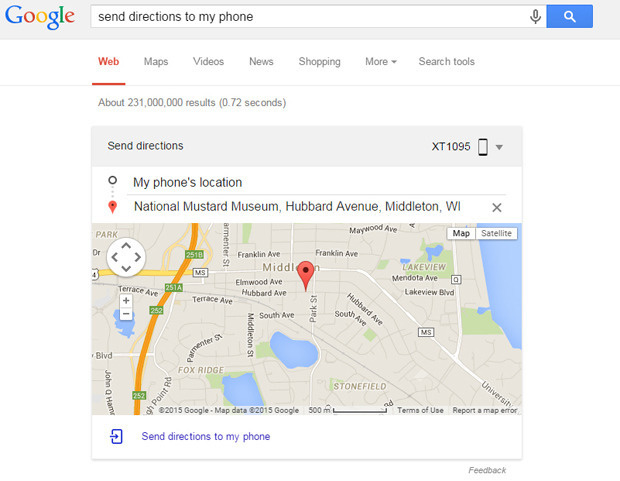 Send directions from Google