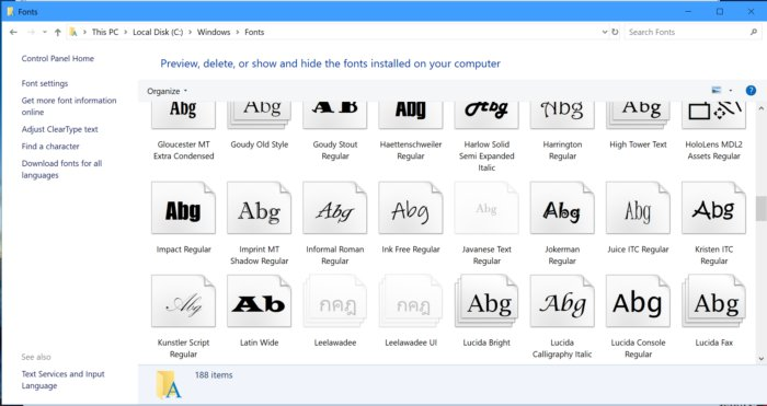Windows 10 font folder