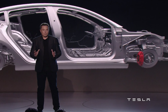 tesla model 3 press event safety cage shot