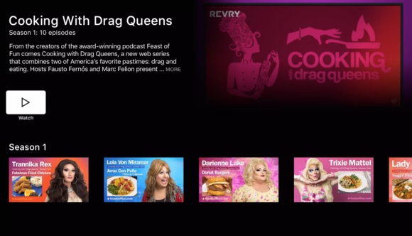revry cooking with drag queens menu
