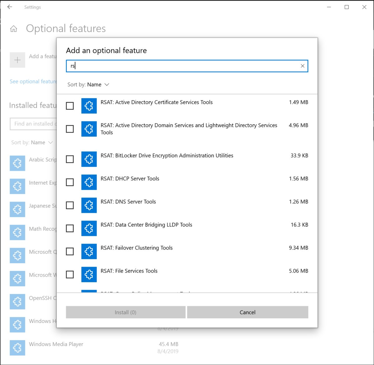 windows 10 optional features